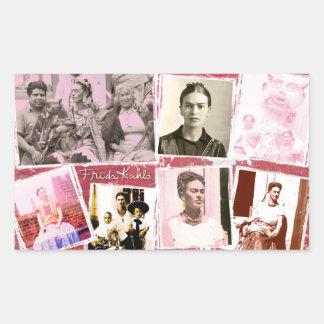 Montaje de la foto de Frida Kahlo Pegatina Rectangular