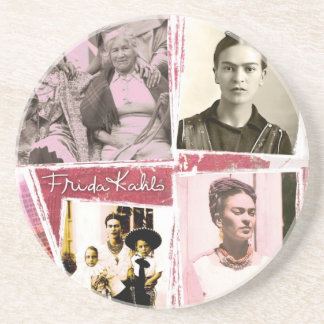 Montaje de la foto de Frida Kahlo Posavasos De Arenisca