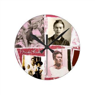 Montaje de la foto de Frida Kahlo Reloj Redondo Mediano
