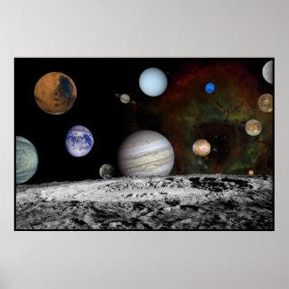 Montaje de la Sistema Solar de las imágenes 54x36  Póster