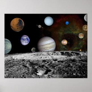 Montaje de la Sistema Solar de las imágenes 54x42  Póster