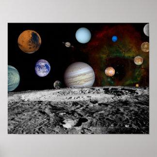 Montaje de la Sistema Solar de las imágenes del vi Póster