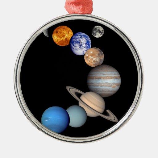 Montaje de la Sistema Solar Adorno Redondo Plateado