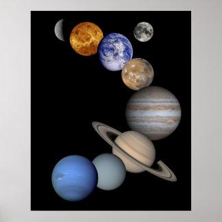 Montaje de la Sistema Solar Póster