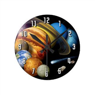 Montaje de la Sistema Solar Reloj Redondo Mediano