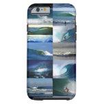 Montaje de las olas oceánicas que practica surf