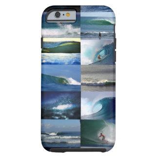 Montaje de las olas oceánicas que practica surf funda para iPhone 6 tough