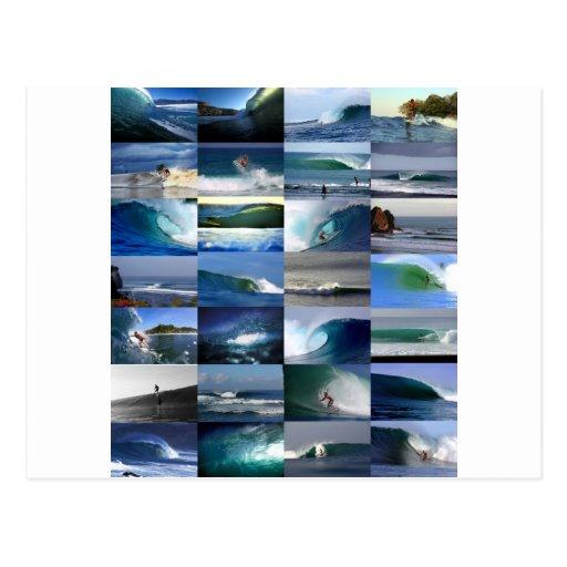 Montaje de las olas oceánicas que practica surf postal