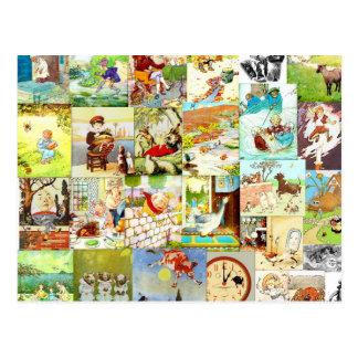 Montaje de las poesías infantiles de los niños del tarjeta postal