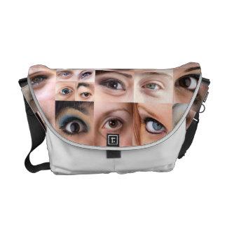 Montaje de los ojos humanos bolsa de mensajería