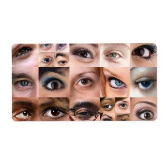 Montaje de los ojos humanos etiquetas de envío