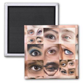 Montaje de los ojos humanos imán cuadrado