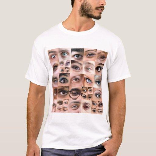 Montaje de los ojos humanos playera
