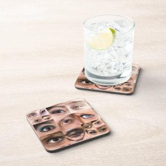 Montaje de los ojos humanos posavasos de bebida