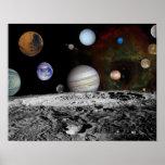 Montaje de los planetas y de las lunas de Júpiter Poster