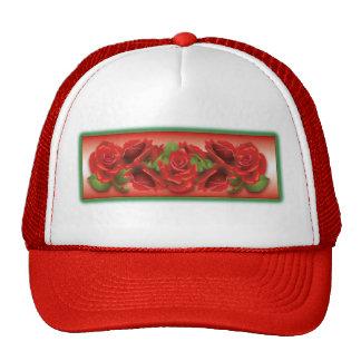 Montaje de los rosas rojos gorro de camionero