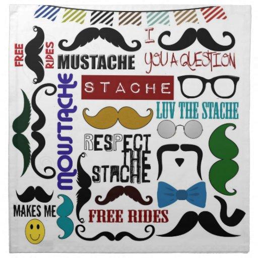 Montaje de moda retro del bigote servilleta