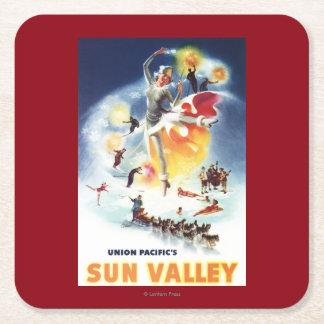 Montaje de Sonja Henje del poster de Sun Valley Posavasos De Cartón Cuadrado