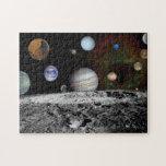 Montaje del espacio rompecabezas con fotos