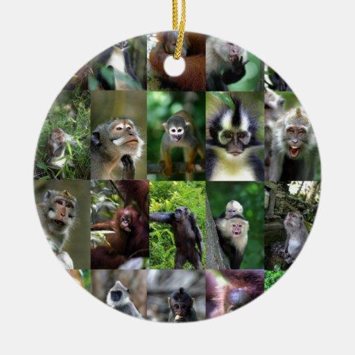 Montaje del primate del mono adorno navideño redondo de cerámica
