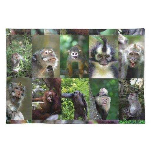 Montaje del primate del mono manteles