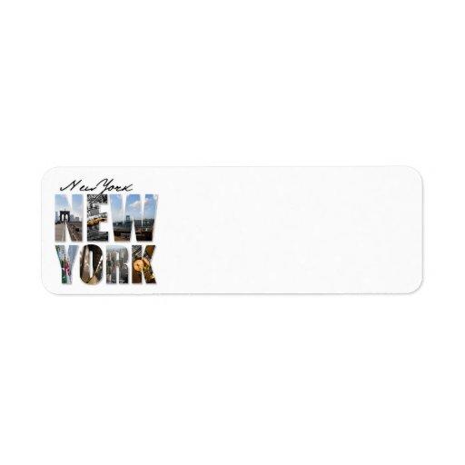 Montaje gráfico del turismo de New York City Etiqueta De Remitente