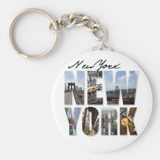 Montaje gráfico del turismo de New York City Llavero