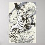 Montaje oscuro del manuscrito del caballero de Bat Poster