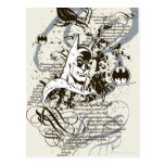 Montaje oscuro del manuscrito del caballero de postal