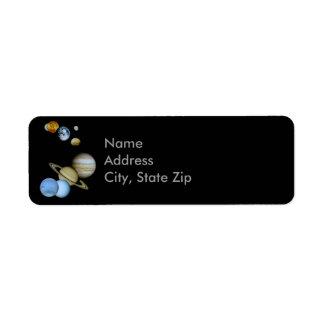 Montaje planetario etiqueta de remite