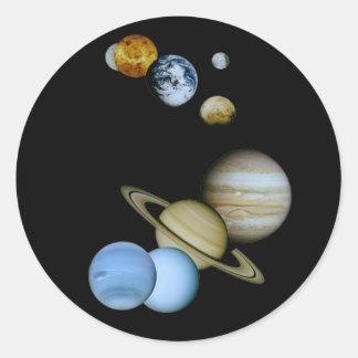 Montaje planetario pegatinas redondas