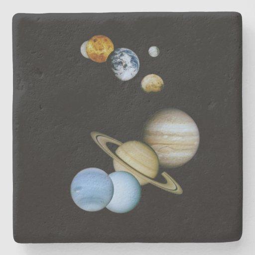 Montaje planetario posavasos de piedra