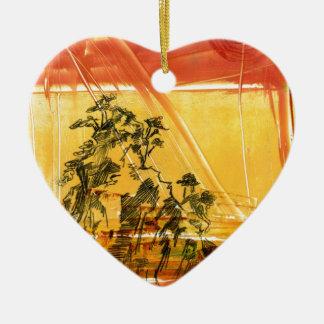 Montaña amarilla del Shan de Huang Adorno Navideño De Cerámica En Forma De Corazón