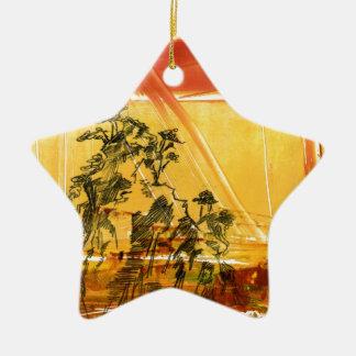 Montaña amarilla del Shan de Huang Adorno Navideño De Cerámica En Forma De Estrella
