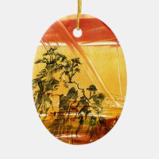 Montaña amarilla del Shan de Huang Adorno Navideño Ovalado De Cerámica