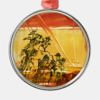 Montaña amarilla del Shan de Huang Adorno Navideño Redondo De Metal