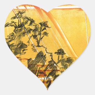 Montaña amarilla del Shan de Huang Pegatina En Forma De Corazón