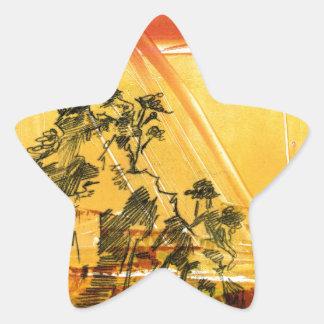 Montaña amarilla del Shan de Huang Pegatina En Forma De Estrella