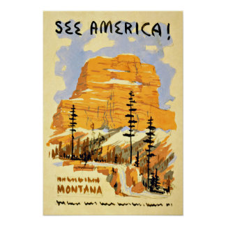 Montana America Vintage Travel Poster