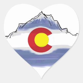 Montaña artística de la bandera de Colorado Pegatina De Corazón Personalizadas