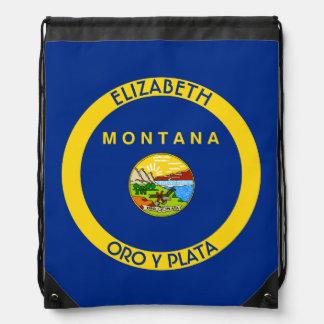 Montana Big Sky Country Personalized Flag Drawstring Bag