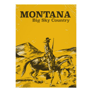 Montana Big sky Country vintage travel poster