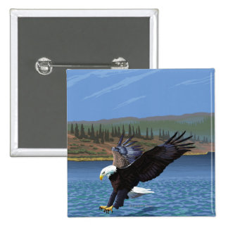 Montana -- Big Sky CountryDiving Eagle Button