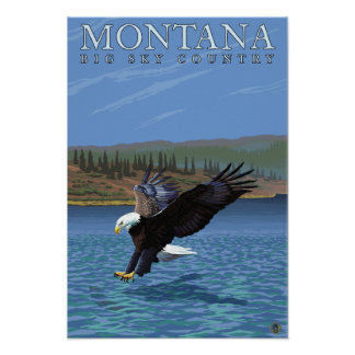 Montana -- Big Sky CountryDiving Eagle Poster