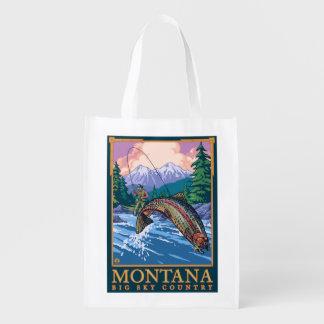 Montana -- Big Sky CountryFly Fishing Scene Grocery Bags