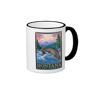 Montana -- Big Sky CountryFly Fishing Scene Coffee Mugs