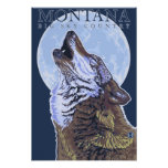 Montana -- Big Sky CountryHowling Wolf Poster
