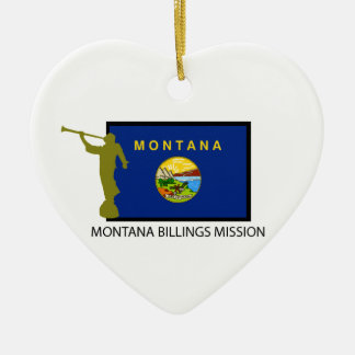 MONTANA BILLINGS MISSION LDS CTR Double-Sided HEART CERAMIC CHRISTMAS ORNAMENT