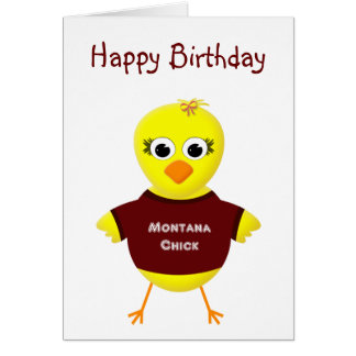 Montana Chick Cute Cartoon Chicken Card