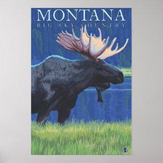 Montana -- Cielo grande CountryMoose en claro de l Póster